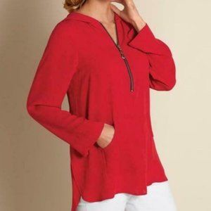 Soft Surroundings Red Hooded Blouse Small